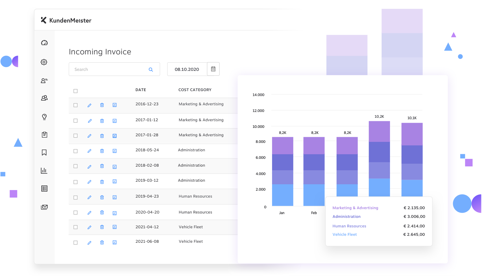 Dashboard Incoming Invoices KundenMeister CRM