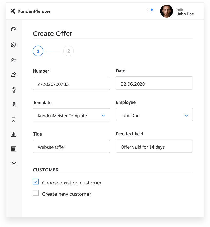 Create Offer KundenMeister CRM