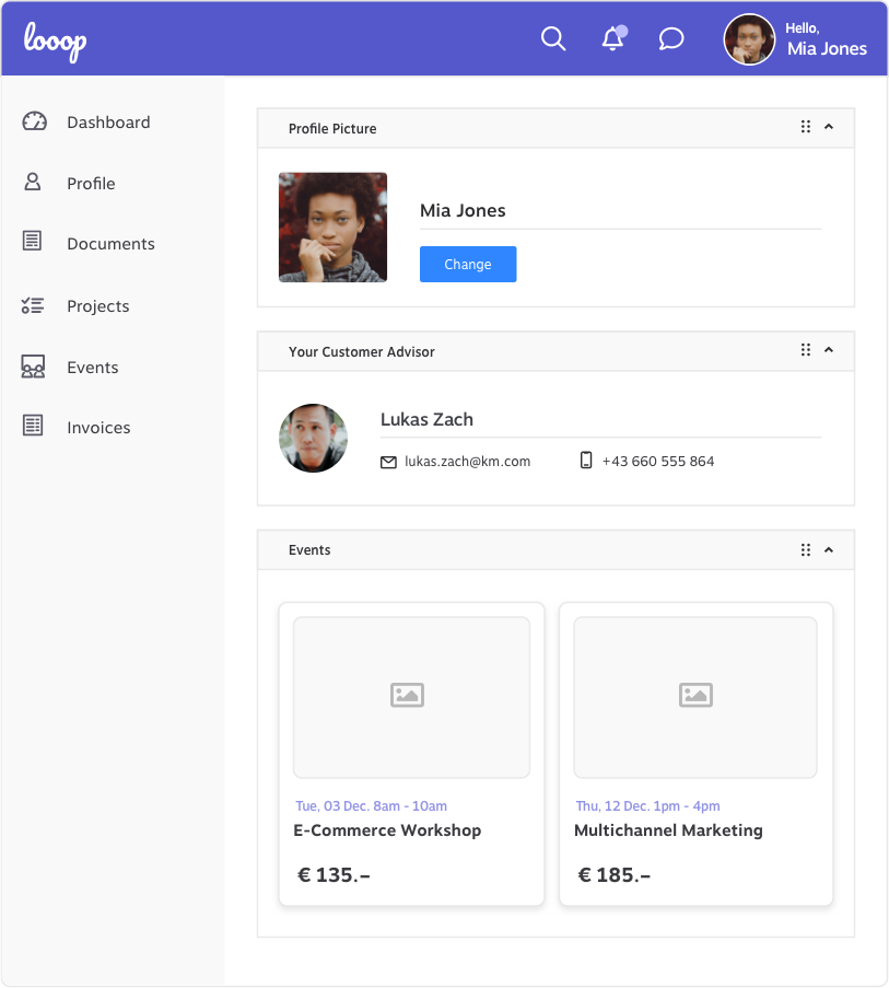 Customer Portal Profile KundenMeister CRM