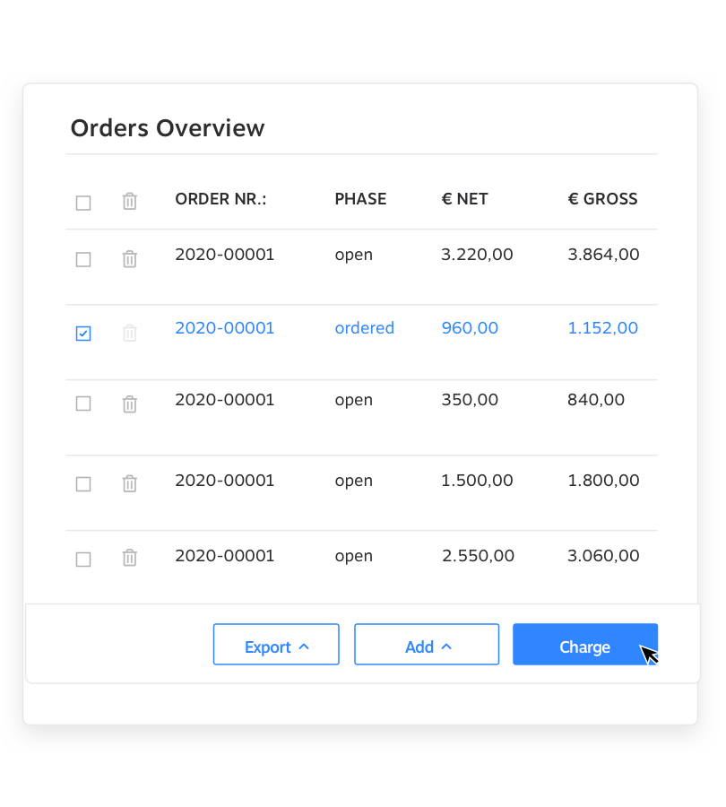 Orders Overview KundenMeister CRM